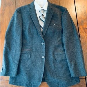 Charcoal Herringbone Wool Blend Sport Coat